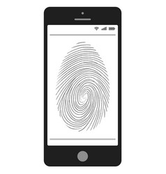 scanning of the fingerprint on the mobile phone vector image vector image