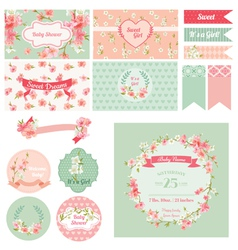 Scrapbook design elements - baby shower vector