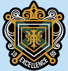 Scroll emblem badge vector