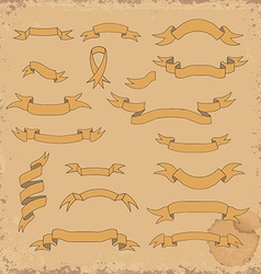 Set of the hand drawn ribbons on grunge background vector image vector image