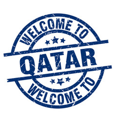 welcome to qatar blue stamp vector image