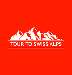 White logo of swiss mountains vector