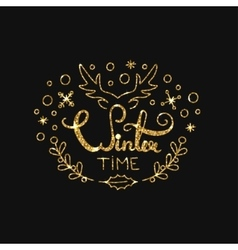 Winter golden lettering design typographic vector