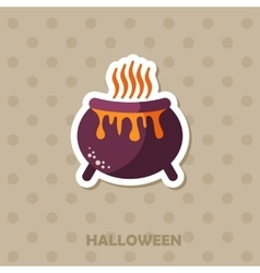 Witch cauldron icon halloween sticker vector