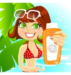 Woman presents cream for sunburn vector