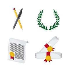 Wreath pencil diploma university icon vector