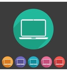 Laptop notebook computer icon flat web sign symbol vector