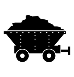 Small coal trolley icon simple style vector