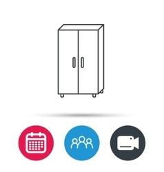 Cupboard icon wardrobe furniture sign vector