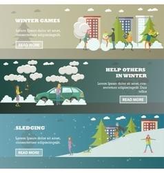 set of winter activities concept banners in vector image