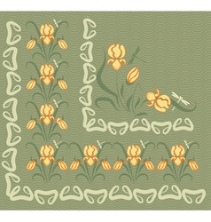 background with yellow irises vector image