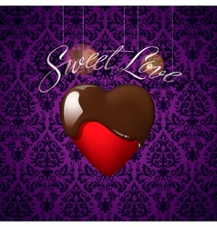 Heart with melted chocolate on floral ornament vector