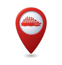 Ship icon red map pointer2 vector