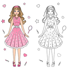 Coloring book doll vector