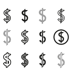 Dollars sign icon set dollar logo template vector image