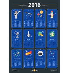 Calendar for 2016 Year with Space Icons and on vector image