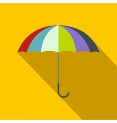 Open colorful umbrella icon flat style vector