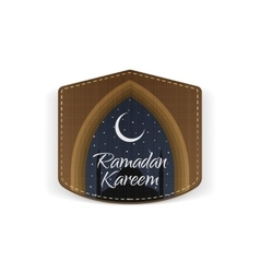Ramadan kareem religious label with ribbon vector