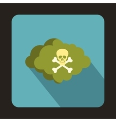Coud with skull and bones icon flat style vector