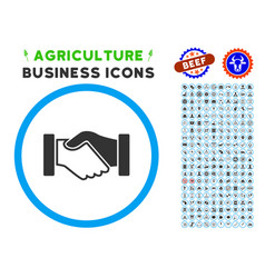 Acquisition handshake rounded icon with set vector
