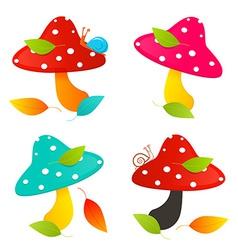 Amanita Mushroom Set - Colorful vector image vector image