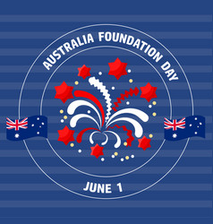 Australia foundation day label on blue vect vector