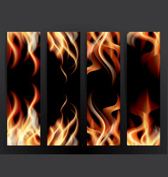 banner set with fire flames vector image