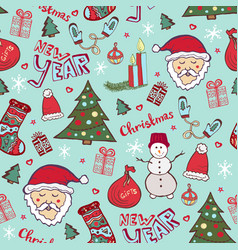 Bright christmas pattern new year cute doodle vector