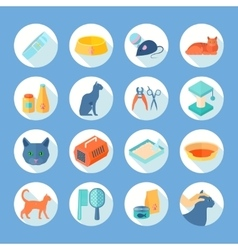 Cat care flat round icons set vector image vector image