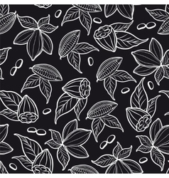 Cocoa beans seamless pattern vector image