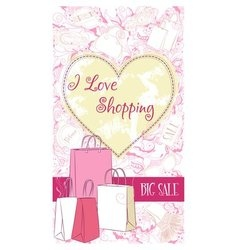 decorative design card with shopping bags vector image