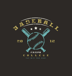 Emblem of baseball college team vector