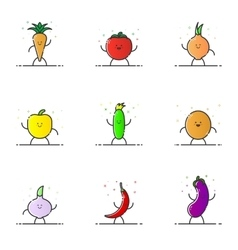 funny vegetable characters vector image