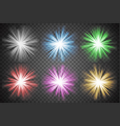 Glowing lights set colorful transparent bursts vector