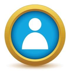 Gold user profile icon vector image