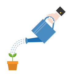 hand holding watering can watering plant vector image vector image