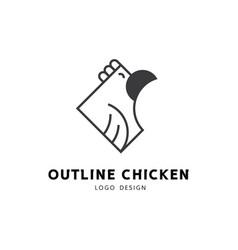 happy chicken outline logo design vector image