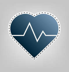 Heartbeat sign blue icon vector