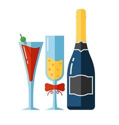 Icon of Alcohol Drinks and Glassess vector image vector image