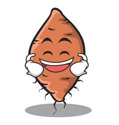 laughing face yam character cartoon style vector image