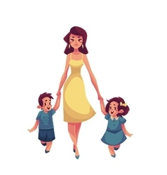 Mother daughter and son walking together vector