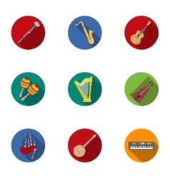 Musical instruments set icons in flat style big vector