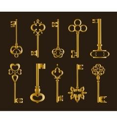 Ornamental medieval vintage keys vector