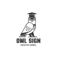 Owl flat logo vector