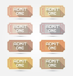 Paper Admit One Ticket Set vector image vector image