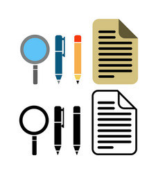 Pen pencil and paper icon vector