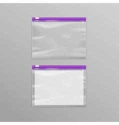 Purple sealed transparent plastic zipper bags vector