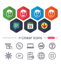 Rapper smile face icons happy sad cry vector