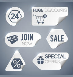 sale and retail grey labels set vector image