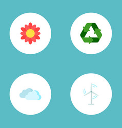 set of green icons flat style symbols with flower vector image